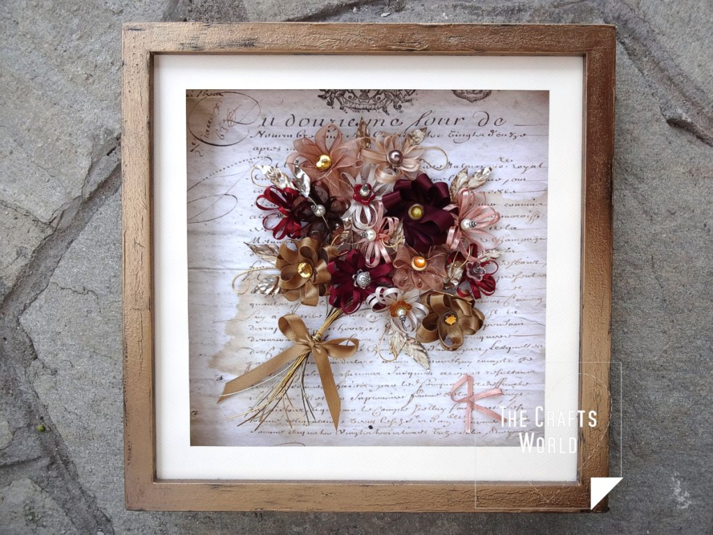 Shadow box Bouquet of ribbon flowers