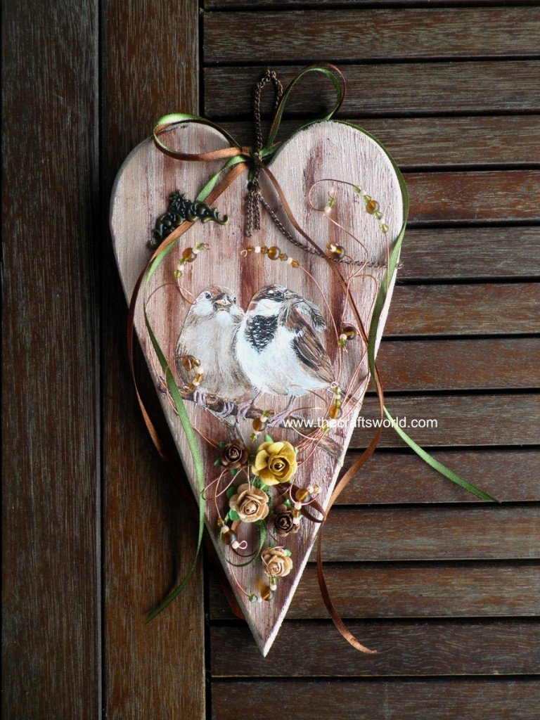 Wooden heart with birds the crafts world for Wooden hearts for crafts