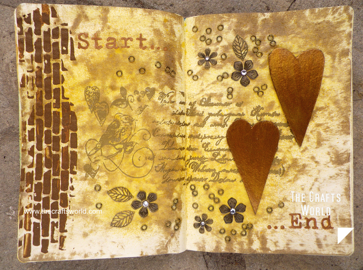 art journal hearts