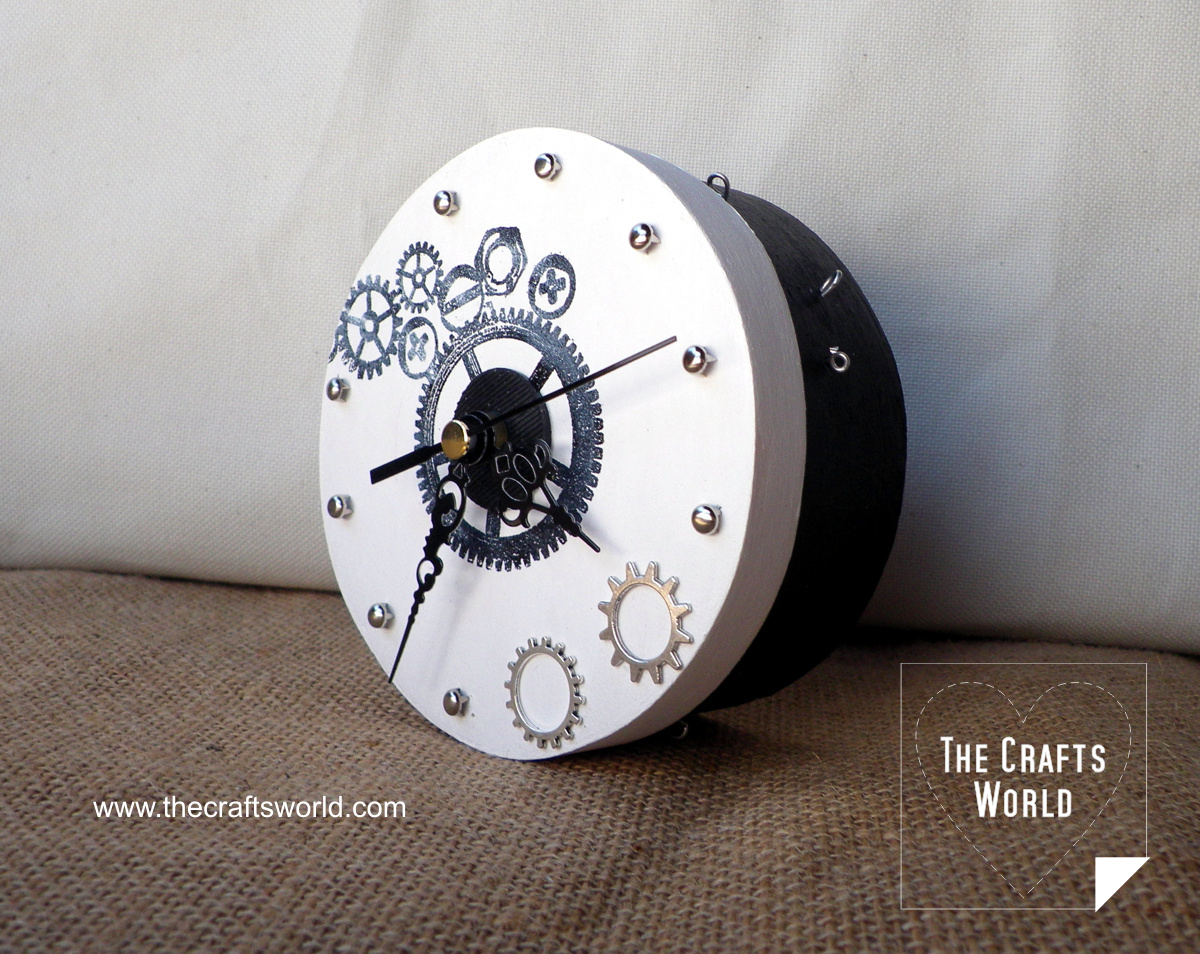 Handmade clock on a box