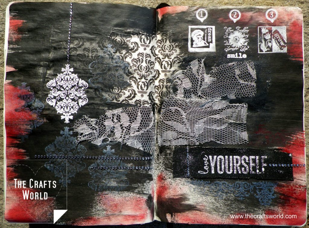 Art journal page Love yourself