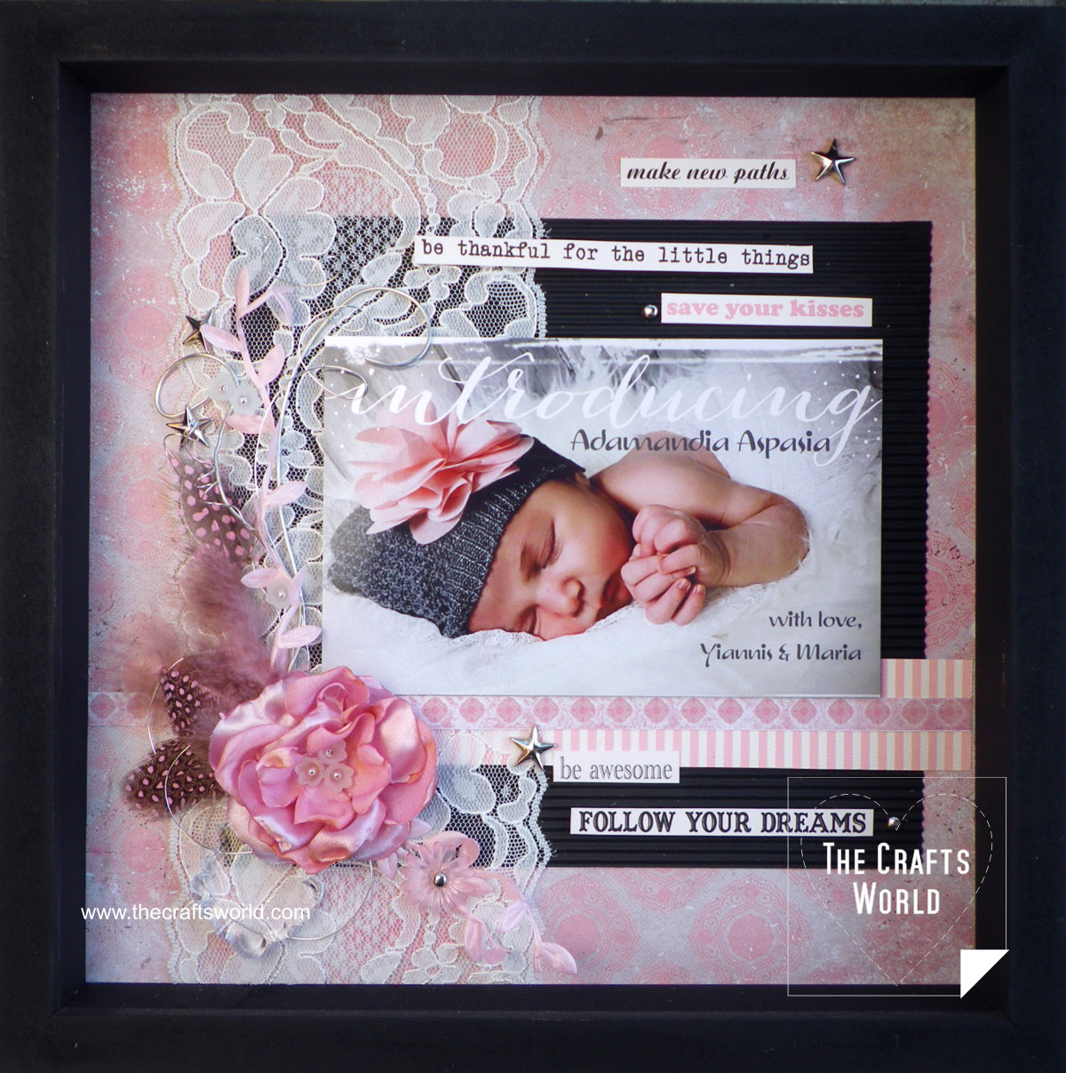 Layout Welcome baby girl framed