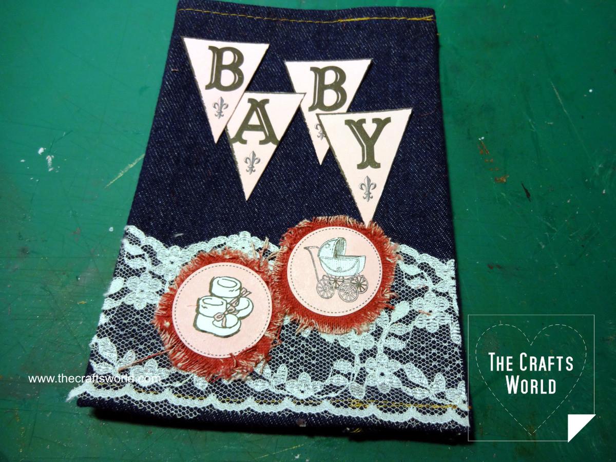 Baby photo album with denim cover 2