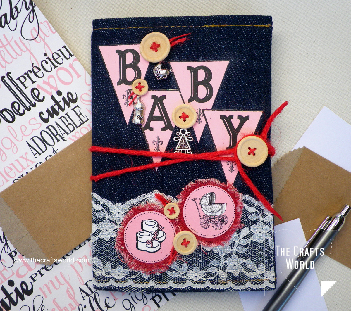 Baby photo album with denim cover