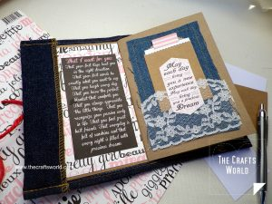 Baby photo album with denim cover page 1