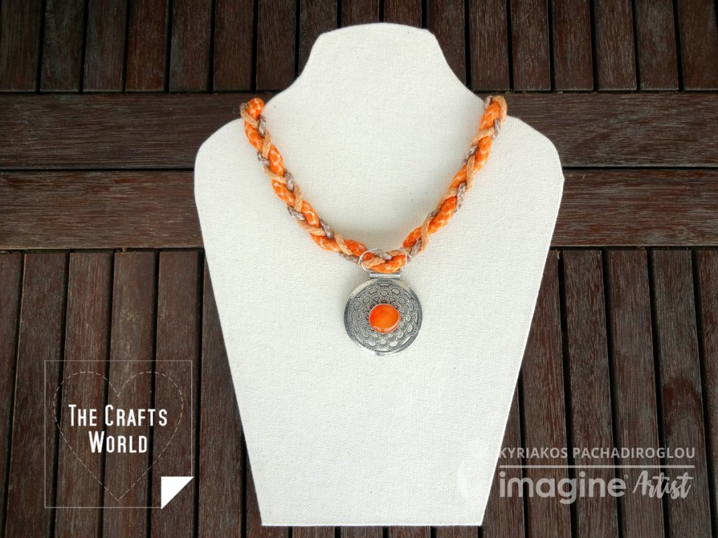 Tangerine braided necklace