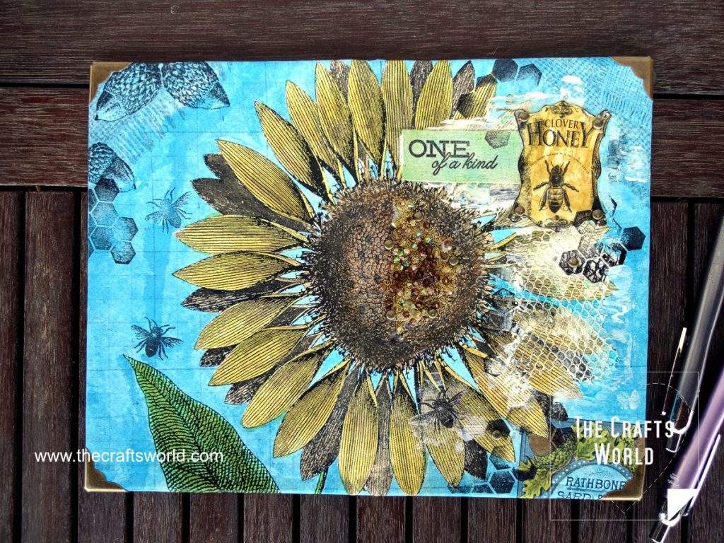 Sunflower canvas book cover open