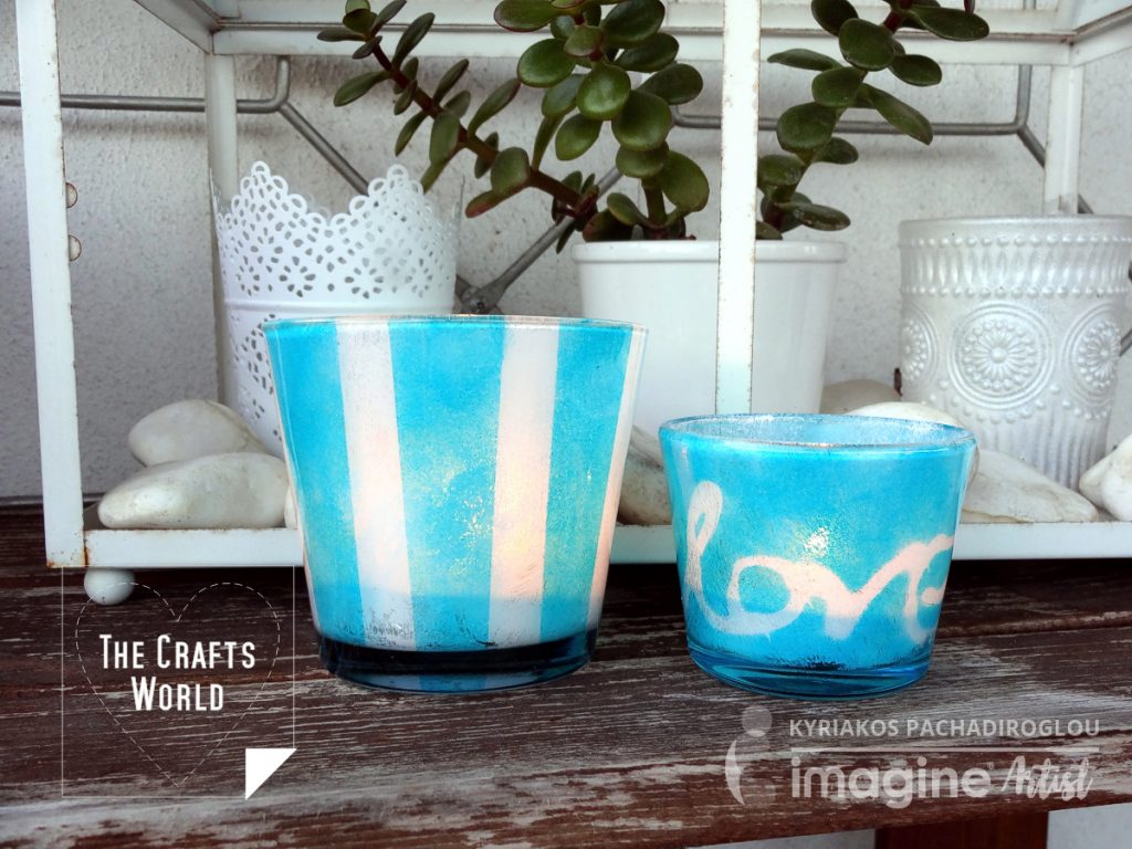 Teal light candle holders