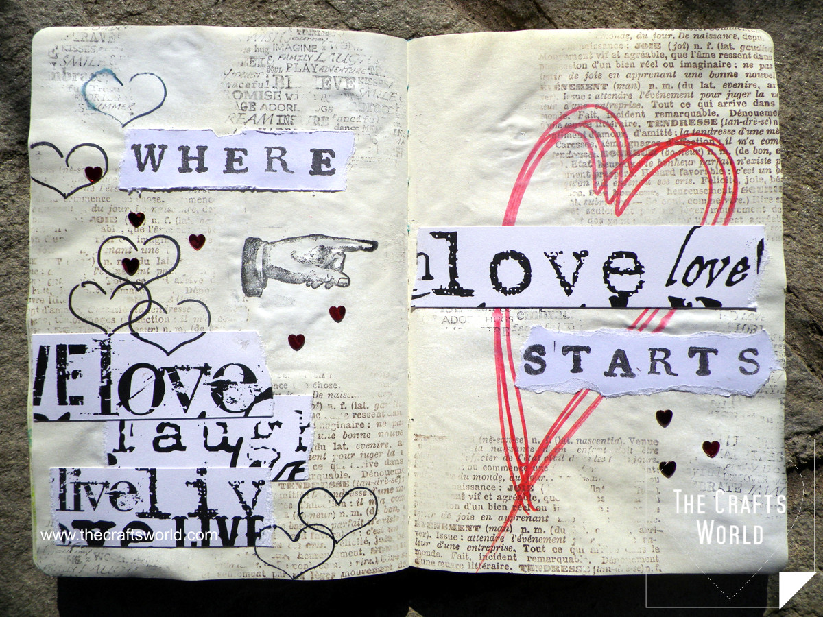 art journal page love