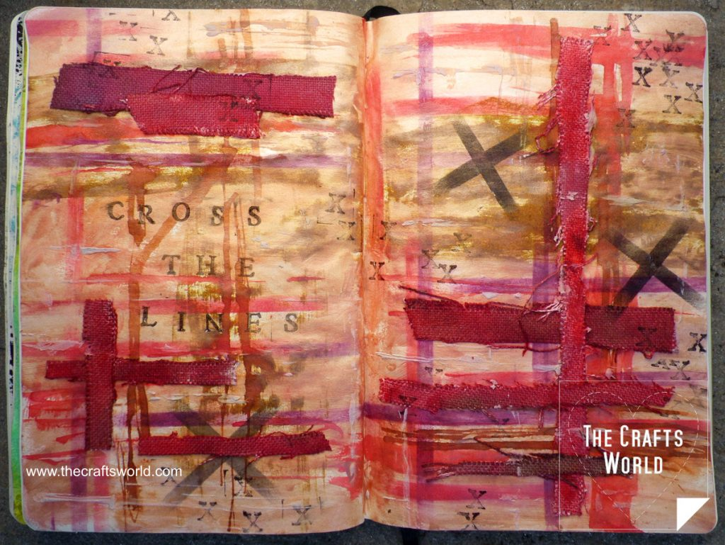 Cross the lines - art journal page