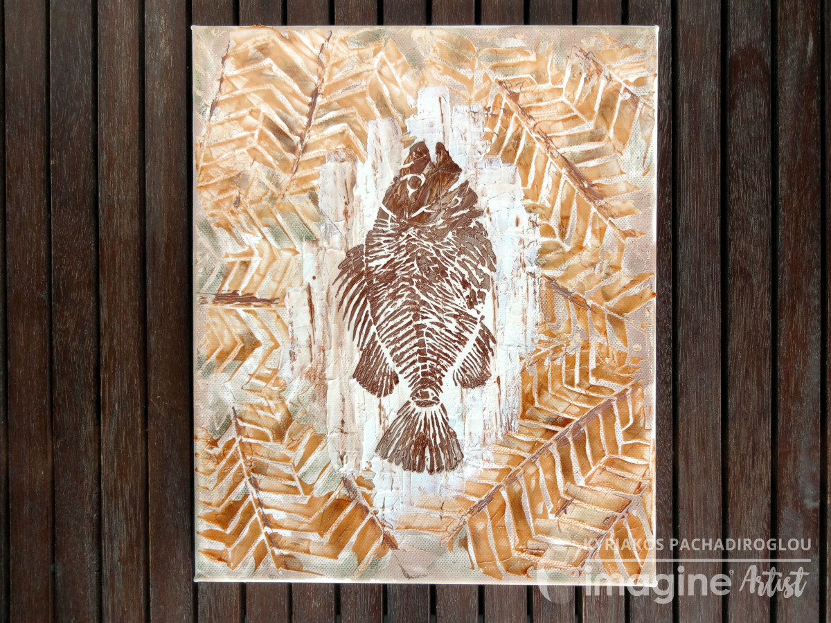 Fossil fish canvas