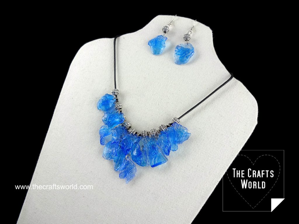 Faux gemstones necklace with Worbla side